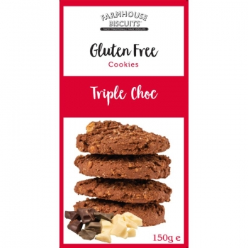 BISCUITI TRIPLE CHOCOLATE FARA GLUTEN FARMHOUSE 150G